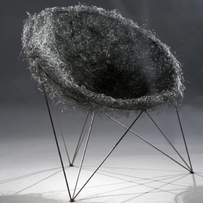 Bird Nest Designer Chair in Grey & Stainless Steel