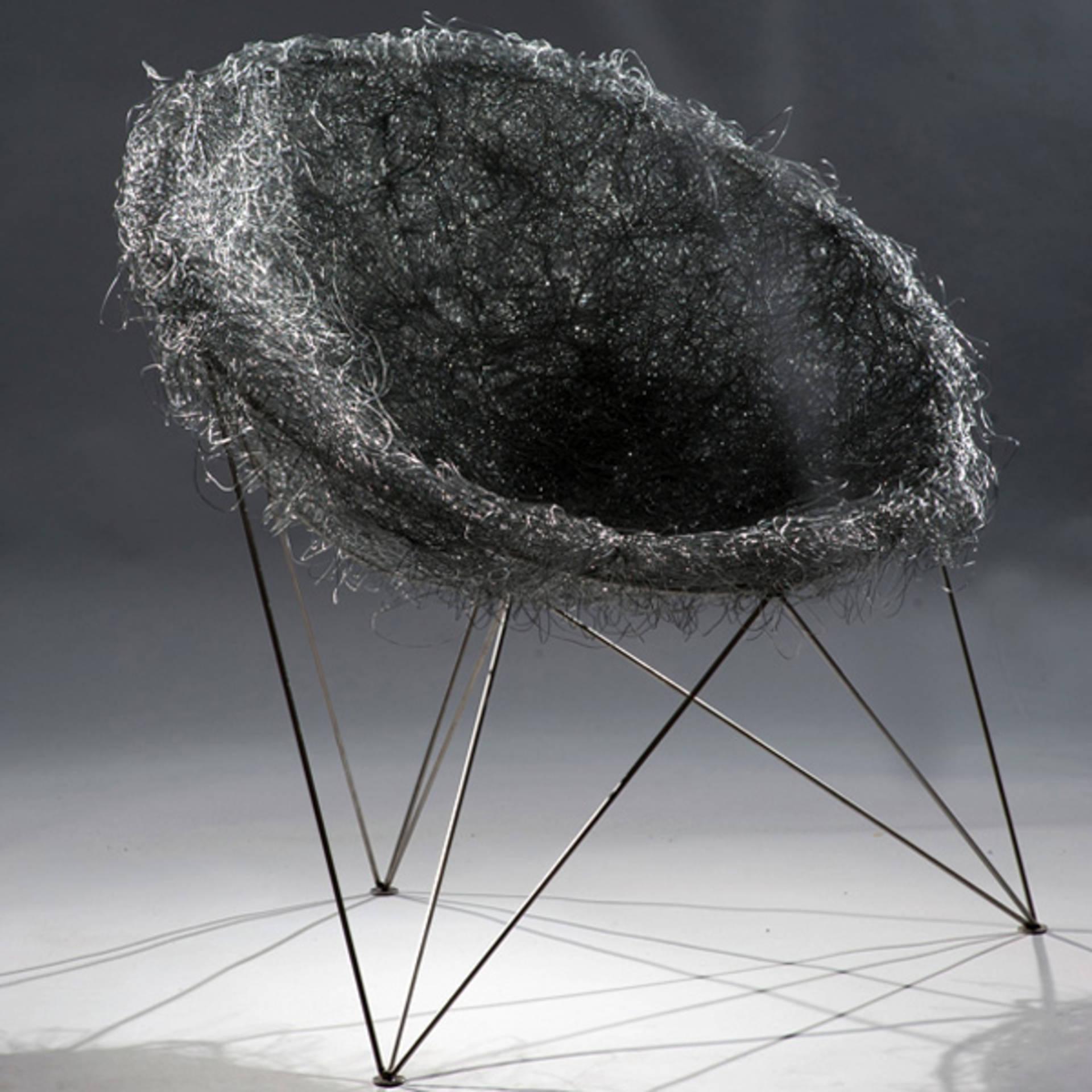 Bird Nest Designer Chair in Grey & Stainless Steel