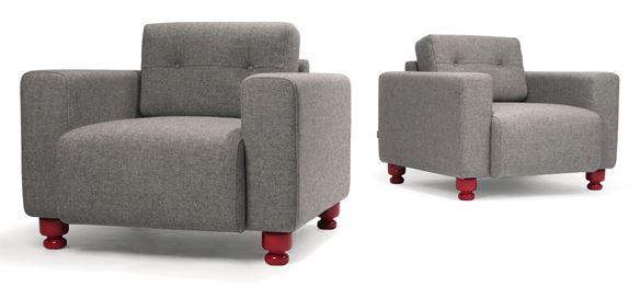 Modus Part Armchair with crimson red feet