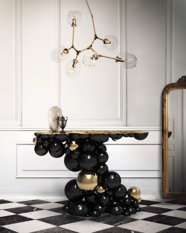 Black and Gold Newton Console