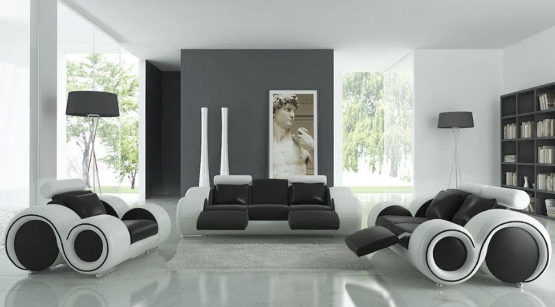Black and White sofa very modern futuristic