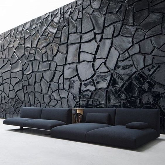 interior design texture, showing you a textured wall along with sofas with a different texture